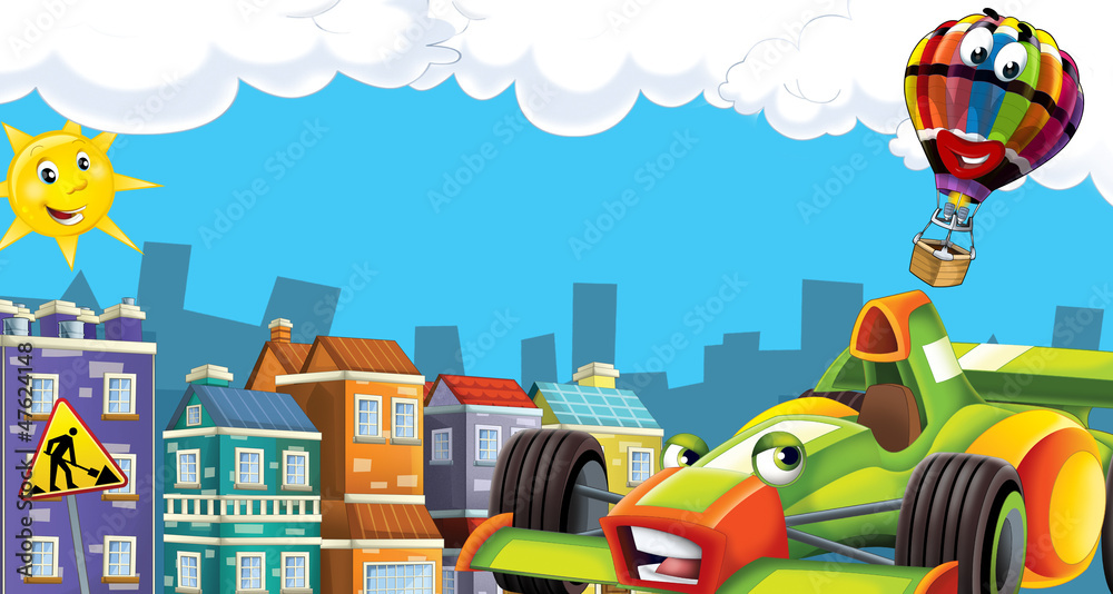 cartoon scene with happy racing car in the city - illustration for children