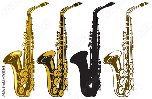 Photo vector set of four saxophones
