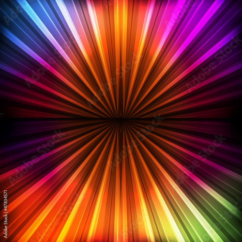 Abstract burst background with neon effects