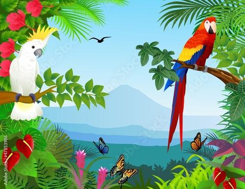 Fototapeta premium Ptak w pięknym lesie