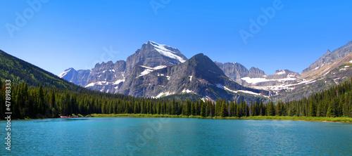 Fotografie, Obraz Panoramic view of Swift Current lake in Glacier national park