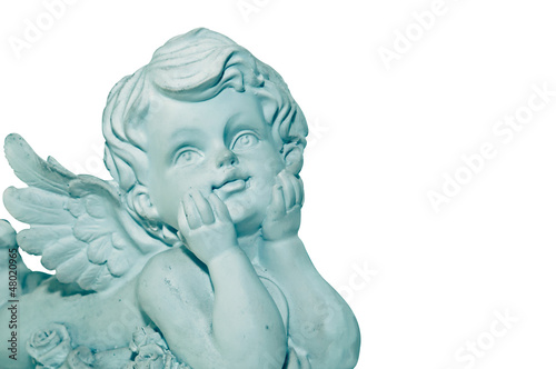 Cupid sculpture isolated on white background Right space for you Fototapeta