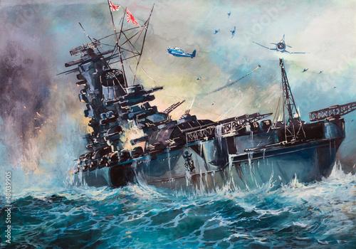 Wallpaper Mural Battle in the sea