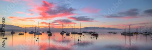 Canvas Print Sunrise and Sailboats