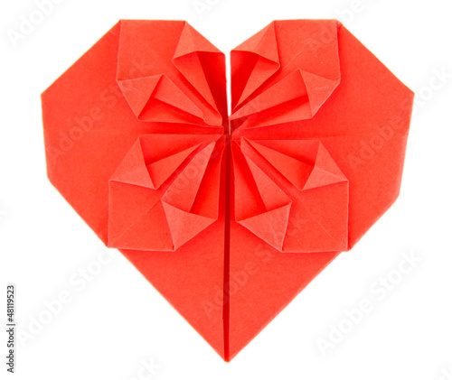 Origami paper heart isolated on white.