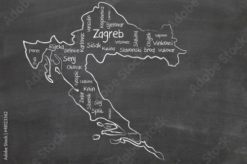 Canvas Print croatia word cloud
