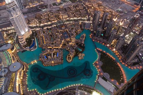 Obraz na plátne Dubai Fountain Area from Burj Khalifa