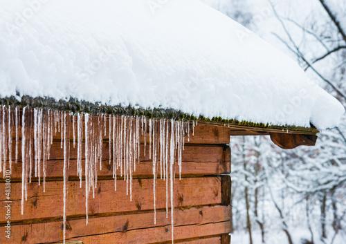 Fotografia house roof icicles