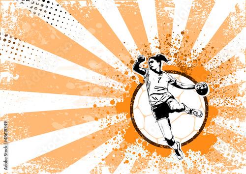Fotografia, Obraz handball retro poster background