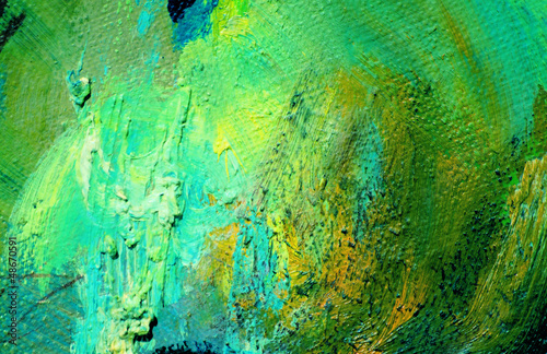 abstract green painting by oil on a canvas,  illustration,  back