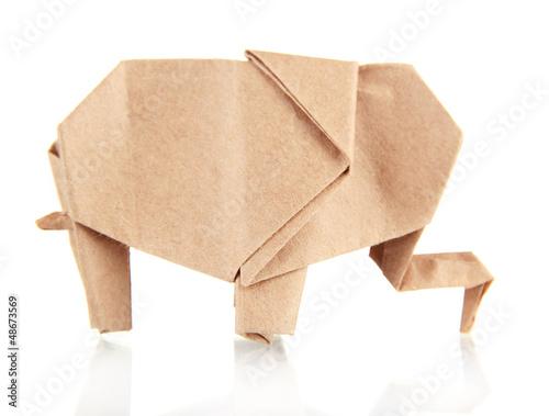 Origami elephant isolated on white
