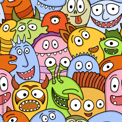 Funny monsters seamless vector pattern.