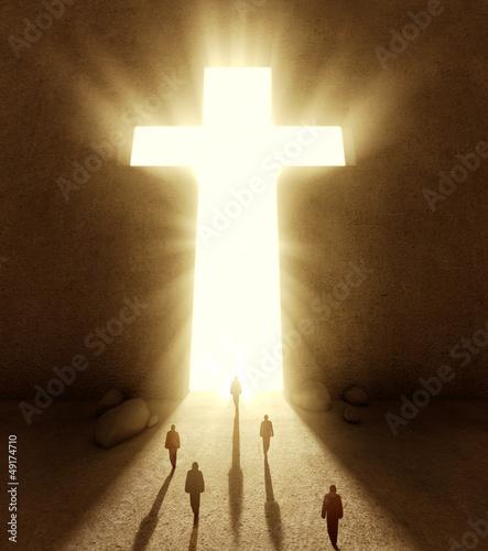 People walking towards a huge cross passage #49174710