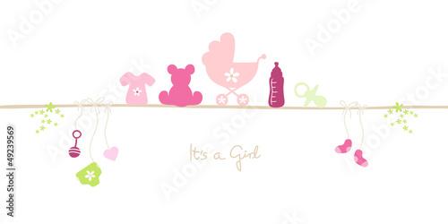 Announcement Baby Symbols Girl #49239569