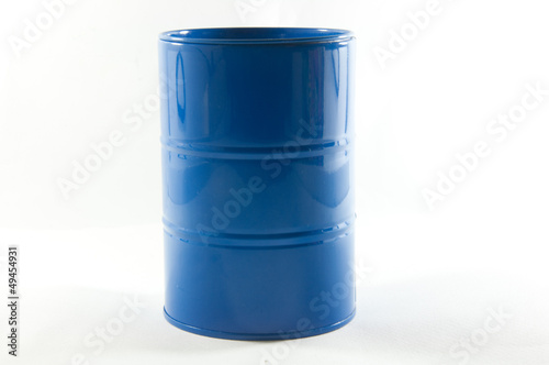 Blue Metal barrels isolated on white background