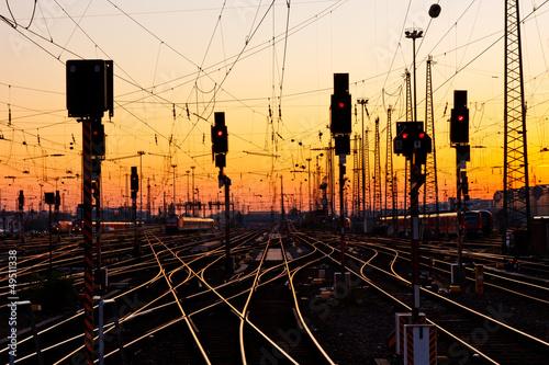 Railway Tracks at Sunset Fototapeta