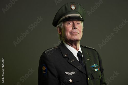 Canvas Print US military general in uniform. Studio portrait.