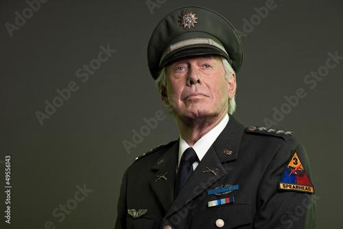 Photo US military general in uniform. Studio portrait.