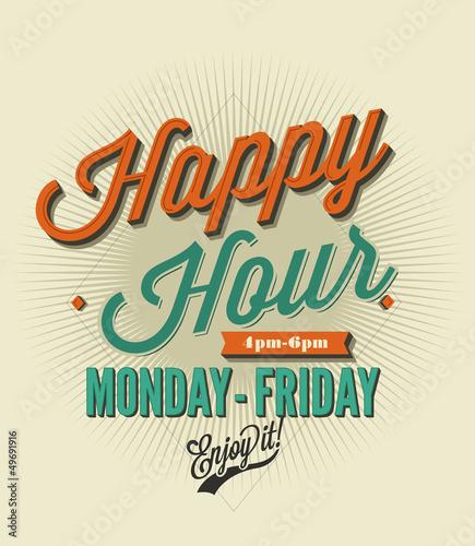 Fotografie, Tablou Happy Hour card