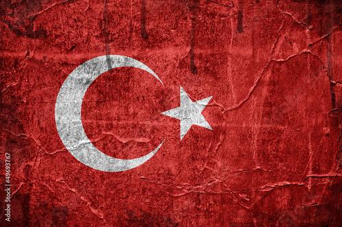 Flag of Turkey overlaid with grunge texture #49693767