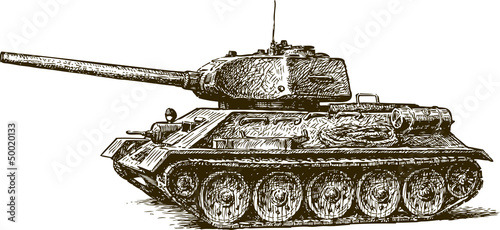 Canvas Print Tank T-34