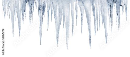 Obraz na plátně number of natural icicles on a white background