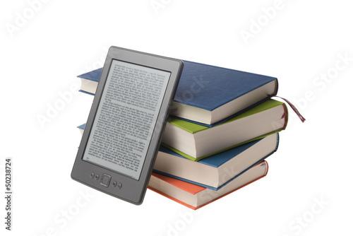 Stampa su Tela Bücherstapel mit E-Book Reader Kindle