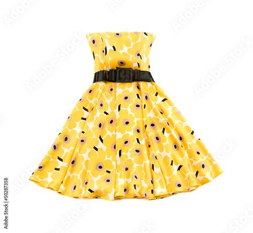 Flowery evase bateau yellow dress Fototapeta
