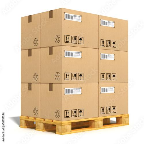 Carta da parati Cardboard boxes on shipping pallet