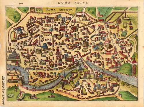 Obraz na plátně Rome medieval map