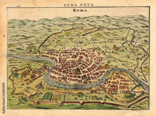 Fototapeta Rome medieval map