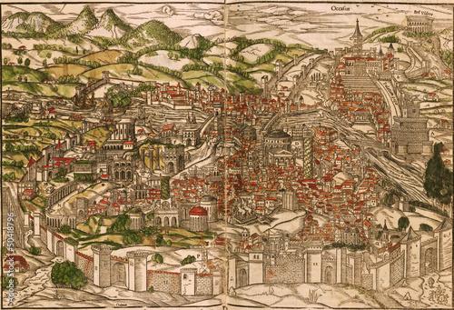 Fotografie, Obraz Rome medieval map