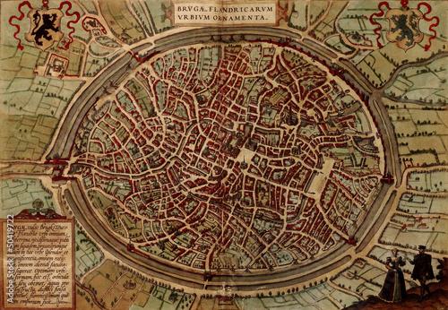 Canvas Print Bruges old map