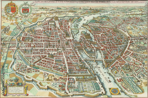 Valokuva Paris vintage map