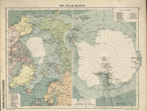 Carta da parati Antarctica vintage map