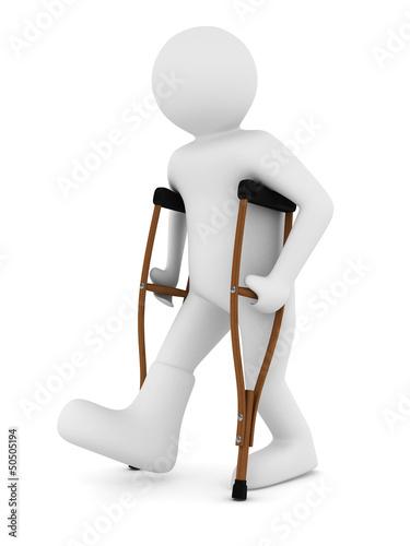 Valokuva man on crutches on white background. Isolated 3D image