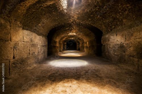 Dungeons of the El Jem colosseum, Tunisia. Fototapeta