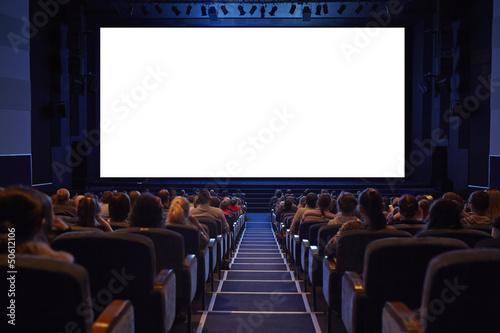 Empty cinema screen with audience. Fototapeta