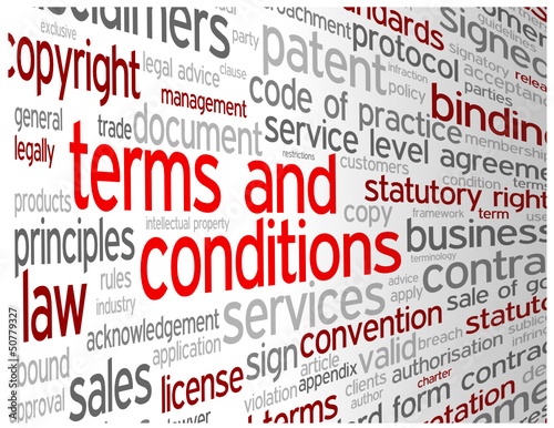TERMS AND CONDITIONS Tag Cloud (use contract disclaimers) #50779327