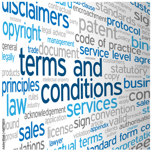 TERMS AND CONDITIONS Tag Cloud (use disclaimers contract) #50779329