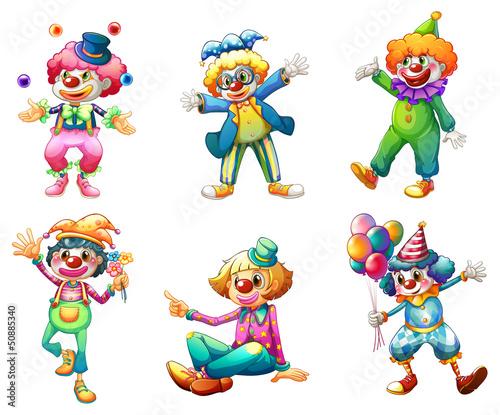 Slika na platnu Six different clown costumes
