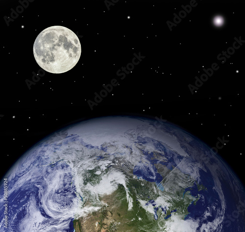 Fotografia Planet earth and moon - Elements of this image furnished by NASA