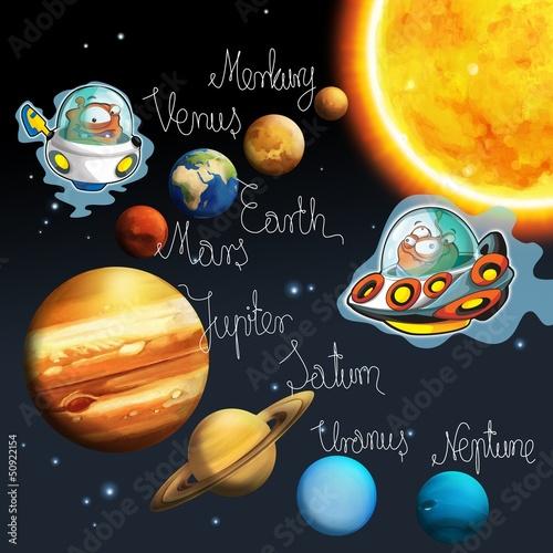 Fototapeta premium Temat kosmitów - ufo - dla dzieci