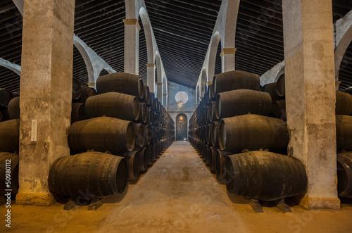 Canvas Print Sherry barrels in Jerez bodega, Spain