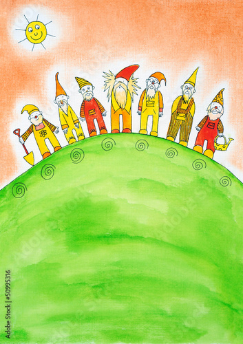 Canvas Print Seven dwarfs, child's drawing, watercolor painting on paper