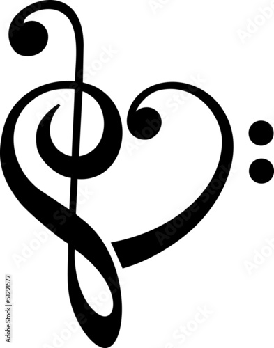 Fototapeta premium Bass Clef, Clef, Heart, Music, Classical