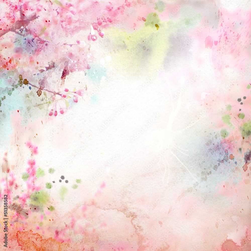 Scenic watercolor background, floral composition Sakura