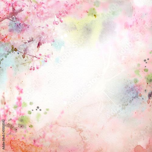 Malownicze tło akwarela, kompozycja kwiatowa Sakura
