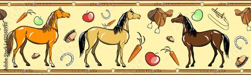 Horse and horseback riding tack seamless border