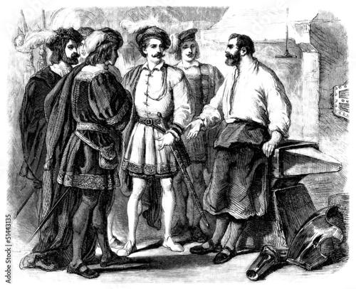 Aristocrats & Blacksmith - Nobles & Forgeron - 16th century Fototapeta